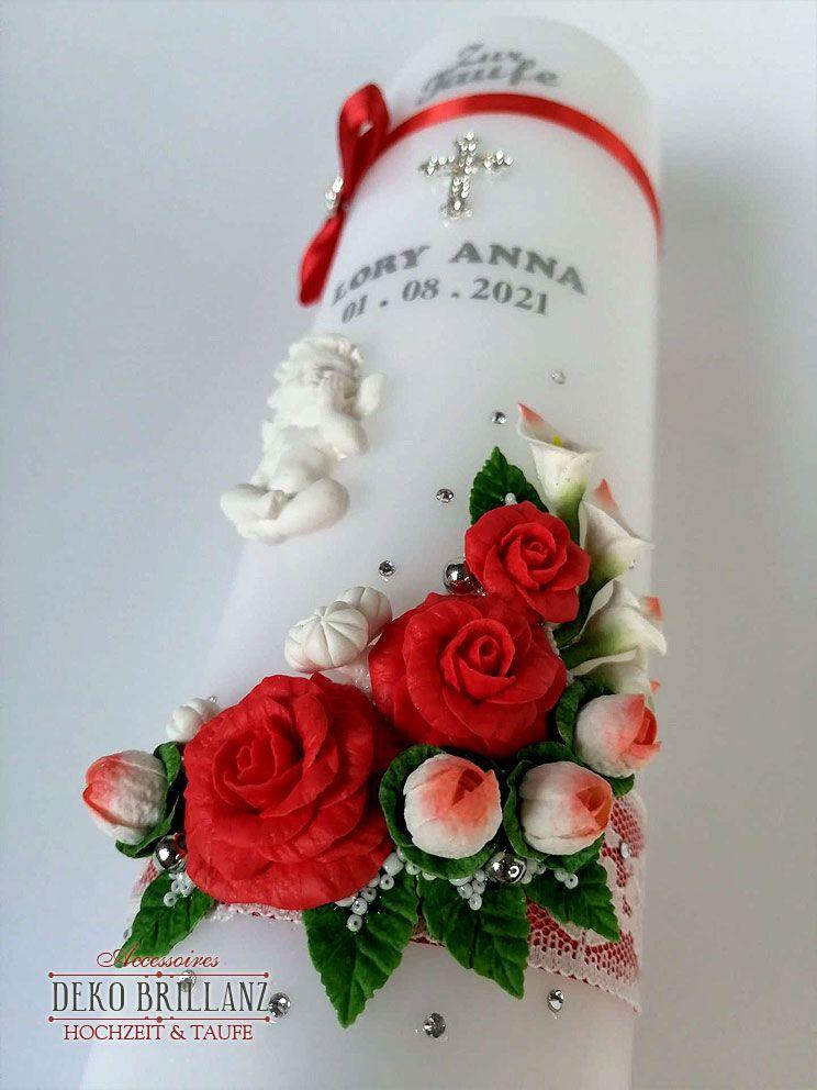Kleinesbild - NEU Taufkerze Junge Mädchen *Rosenschatz* Kreuz Taube Engel, Rot, personalisiert mit Beschriftung