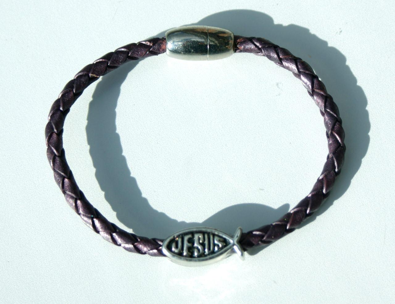 - Armband ICHTHYS  mit Jesus-Inschrift,  Leder, Edelstahl - Armband ICHTHYS  mit Jesus-Inschrift,  Leder, Edelstahl