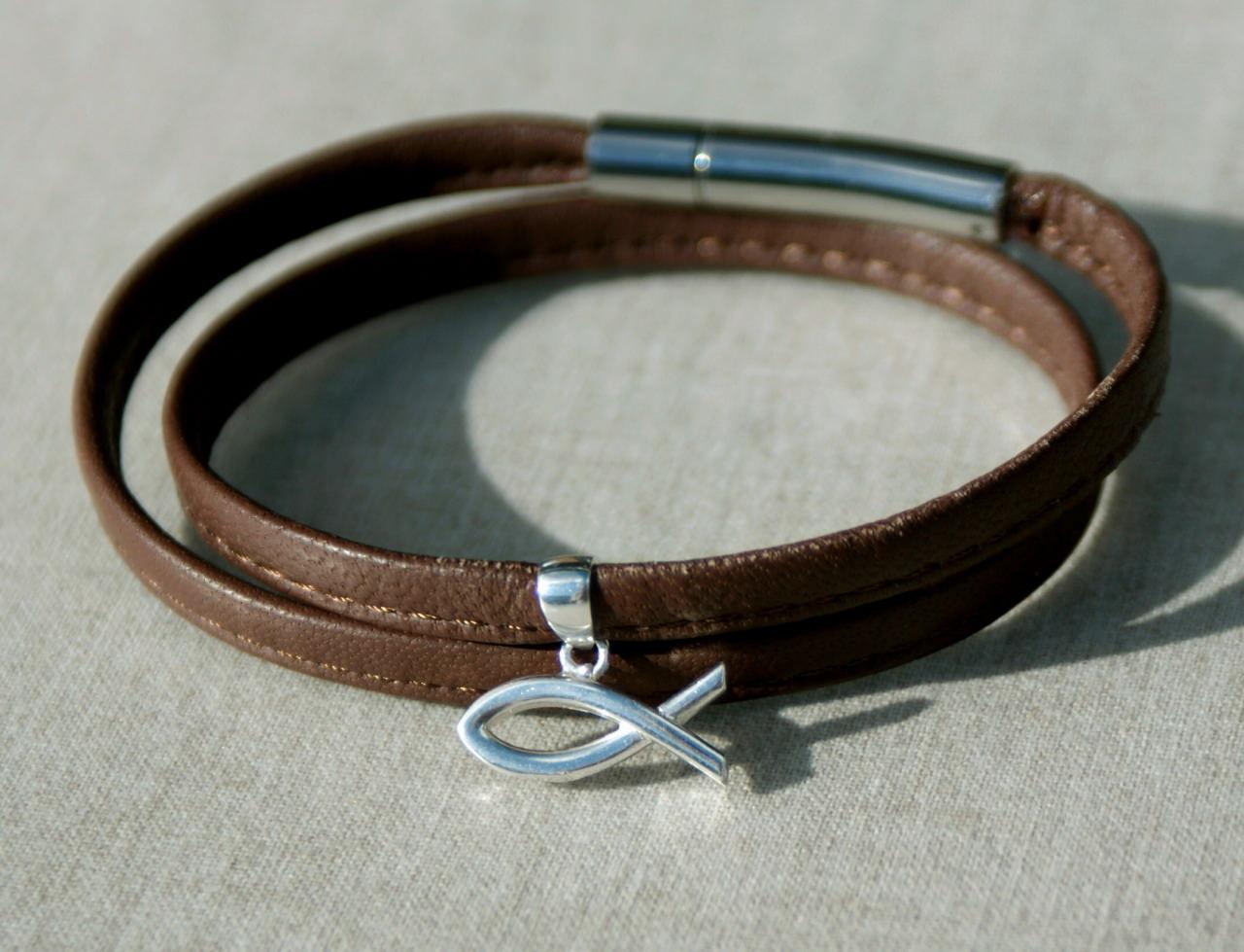 Kleinesbild - Wickelarmband braun Nappaleder ICHTHYS  Silber