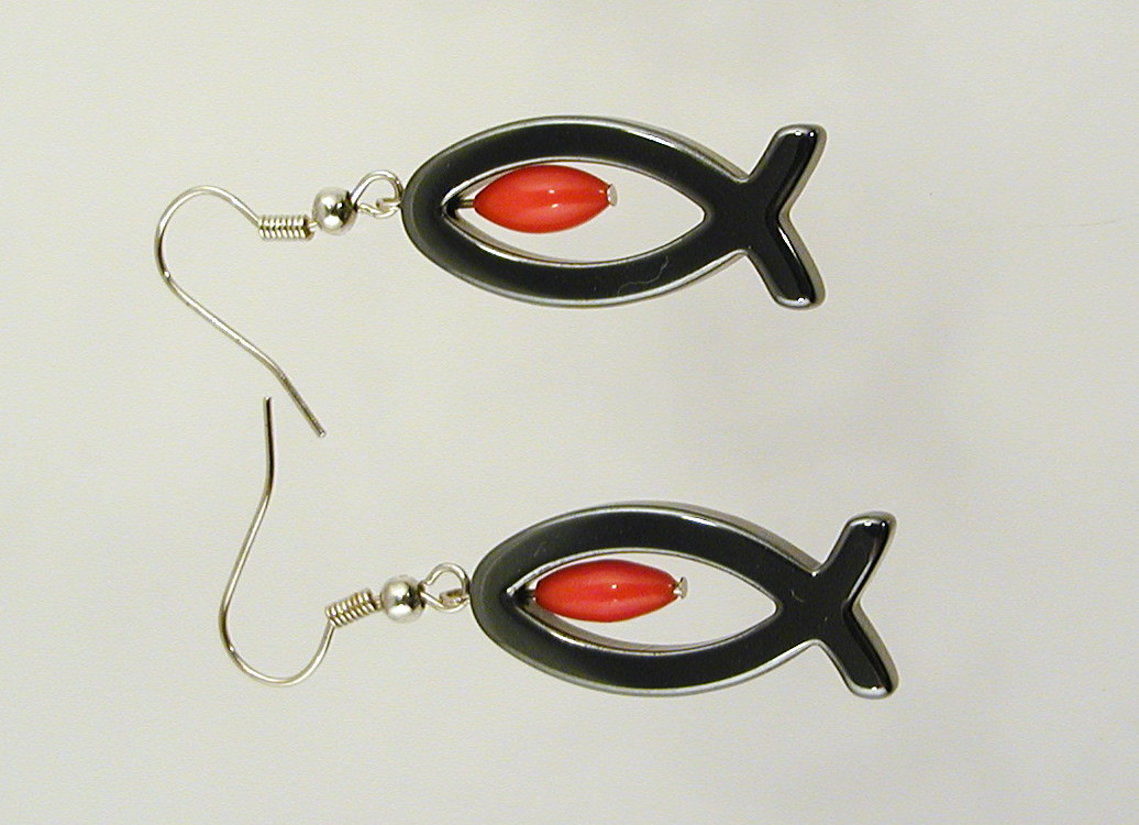 Kleinesbild - Ohrhänger  Ichthys  Hämatit mit Koralle christlich Fisch Konfirmation Geschenk