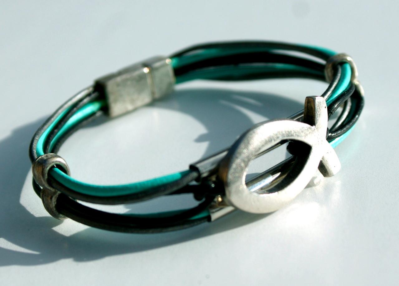 - Armband ICHTHYS Leder 6fach mint grau schwarz versilbert - Armband ICHTHYS Leder 6fach mint grau schwarz versilbert