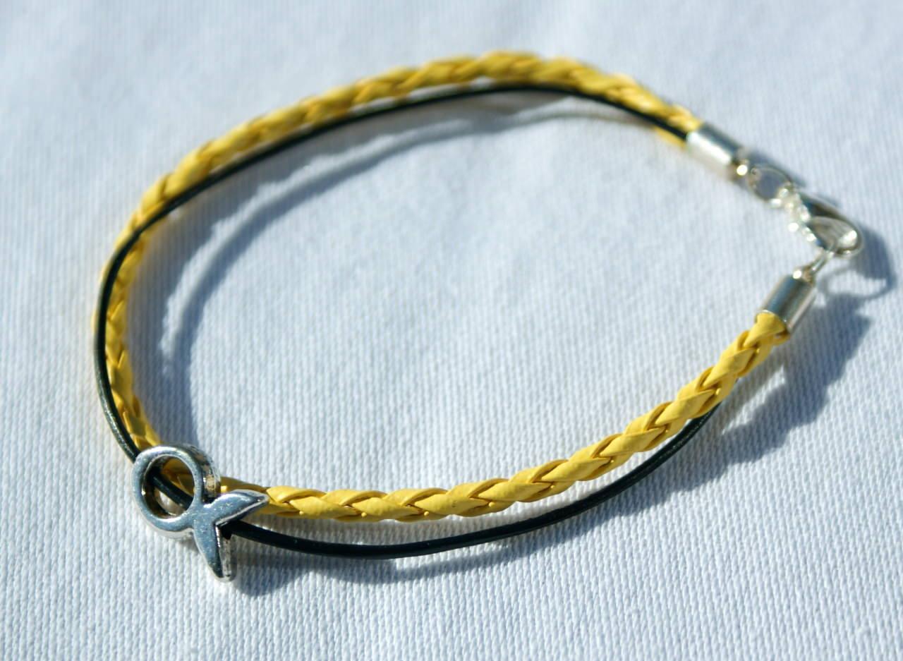 Kleinesbild - schmales Armband mit kleinem Ichthys gelb-schwarz