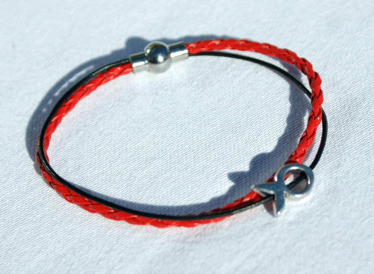 - schmales Armband mit kleinem Ichthys rot-schwarz Fisch christlich - schmales Armband mit kleinem Ichthys rot-schwarz Fisch christlich