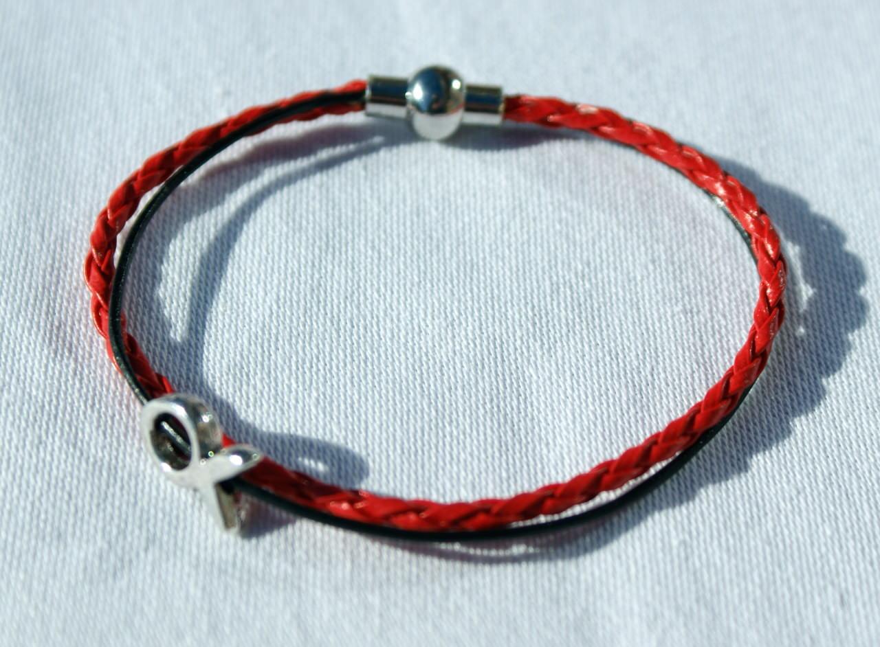 Kleinesbild - schmales Armband mit kleinem Ichthys rot-schwarz Fisch christlich