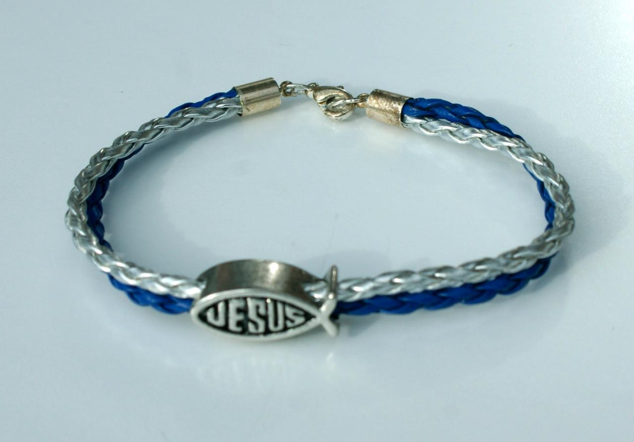 Kleinesbild - Armband Ichthys mit Jesus-Inschrift blau-silber Fisch christlich versilbert