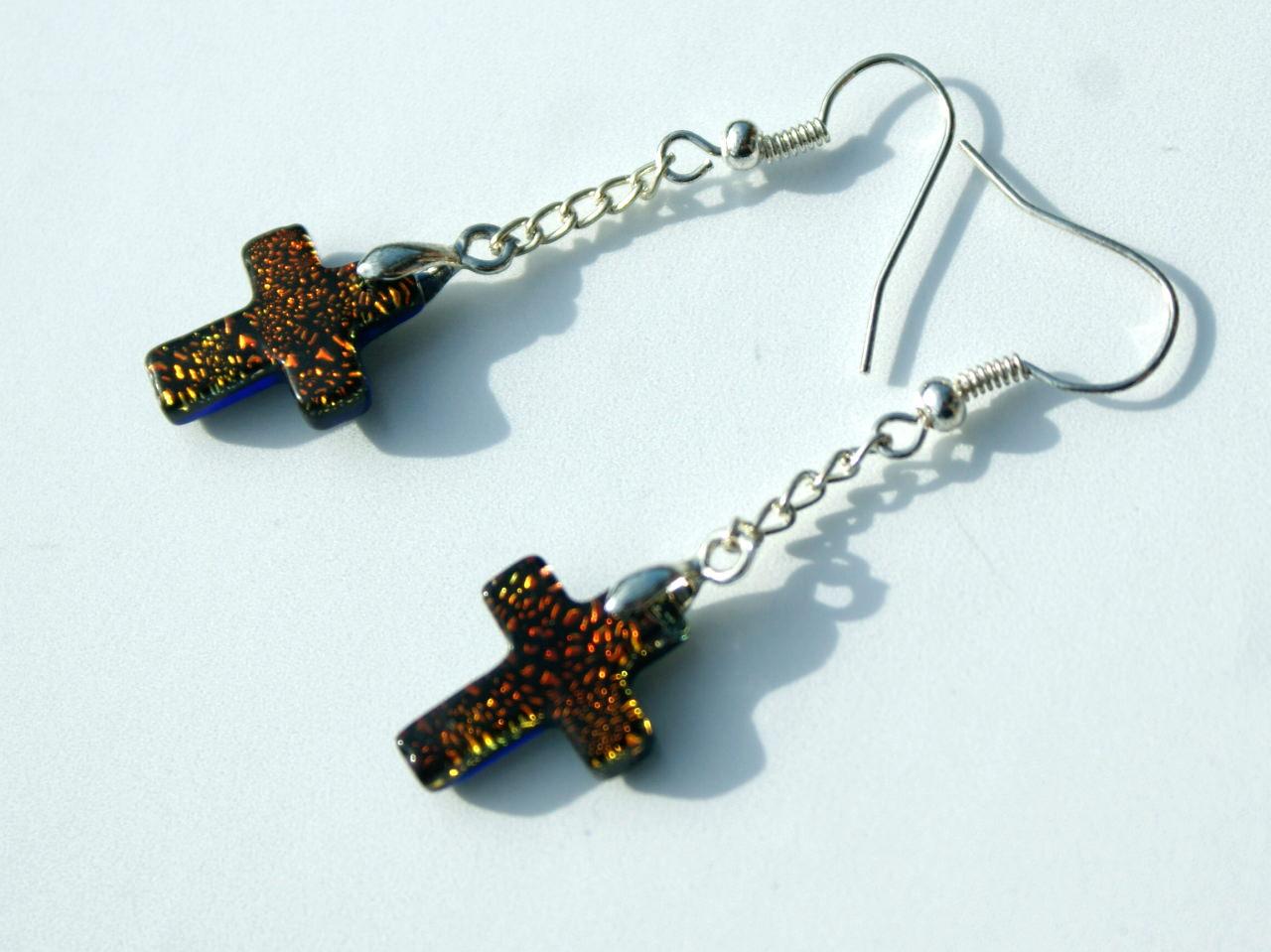 - Ohrhänger Kreuz dichroitisches Glas orange versilbert zierlich Kette christlich - Ohrhänger Kreuz dichroitisches Glas orange versilbert zierlich Kette christlich
