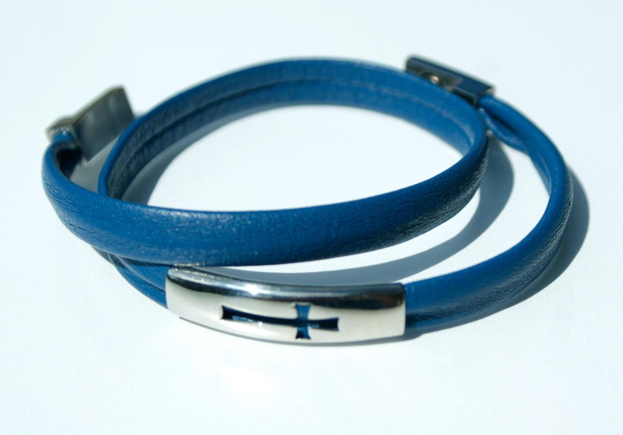 Kleinesbild - Wickelarmband KREUZ Nappa-Leder blau Edelstahl schlicht elegant