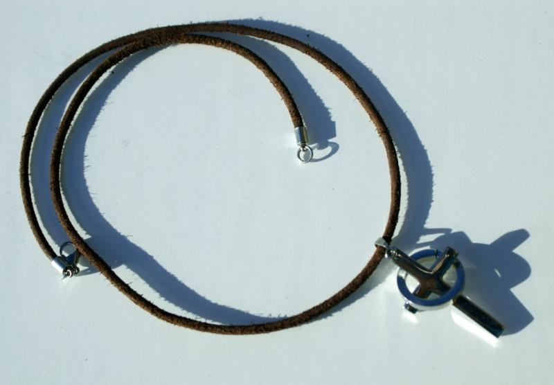 Kleinesbild - Kette Männer KREUZ mit RING Edelstahl Leder christlich Büffelleder schlicht