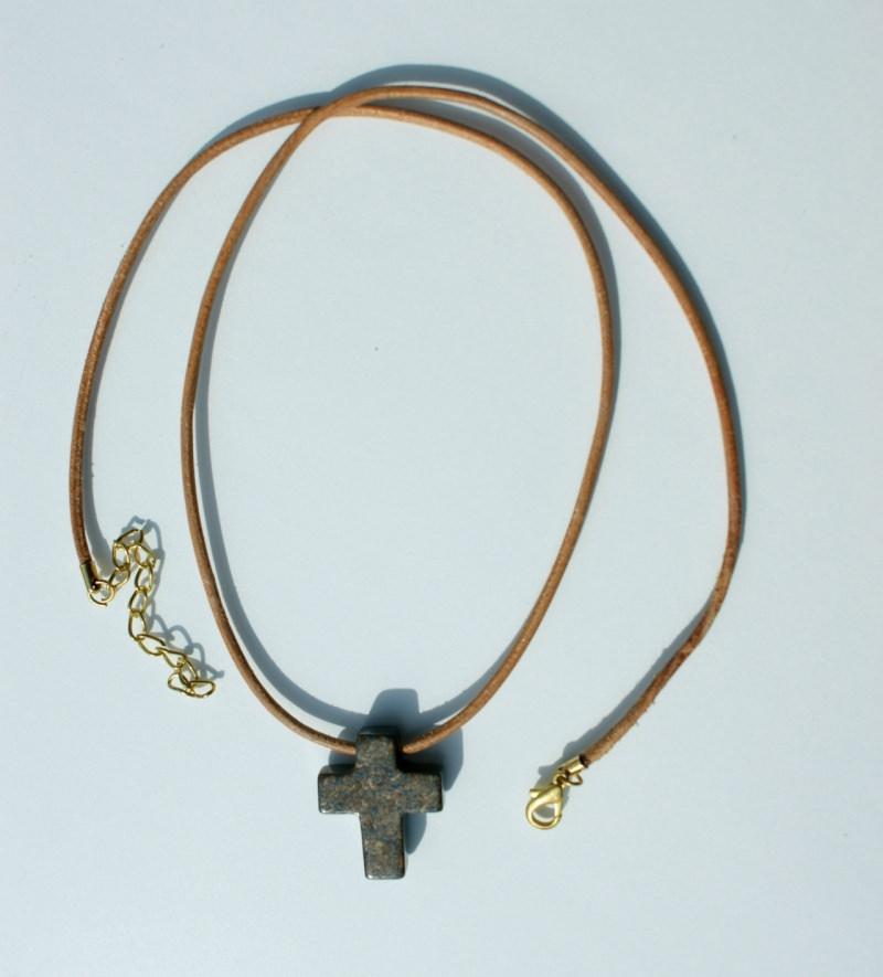 Kleinesbild - kleines KREUZ aus Bronzit Pyrit Anhänger Lederband Mann Frau christlich natur schlicht
