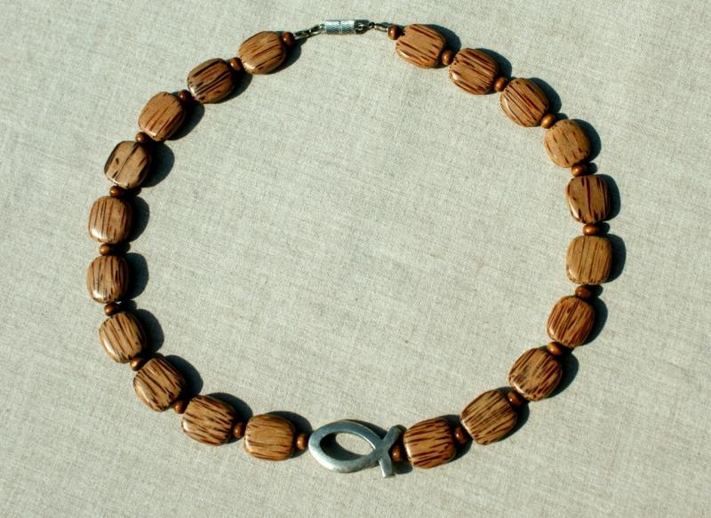 Kleinesbild - Palmholz Halskette Ichthys versilbert Lederband Holz Magnetverschluss