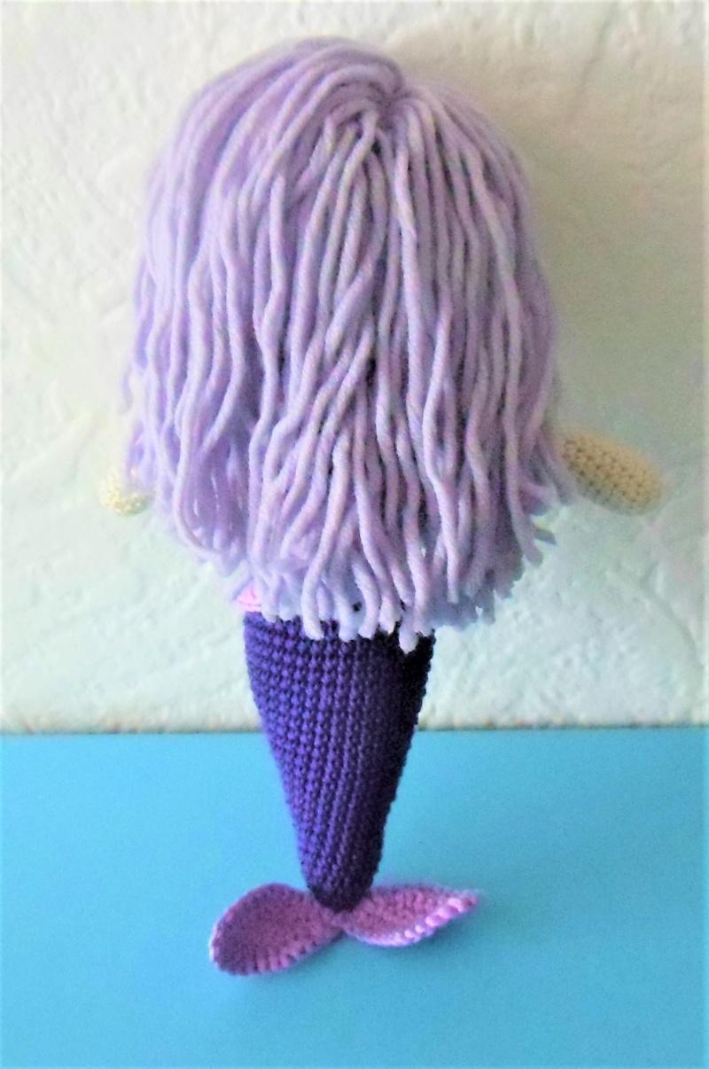 Kleinesbild - gehäkelte Puppe Leila, die Meerjungfrau , Top zum an-und ausziehen , aus Baumwolle