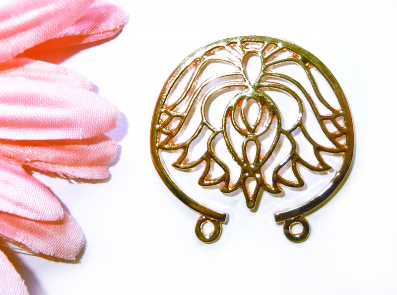 - 1 goldfarbener Lotusanhänger, Verbinder - 1 goldfarbener Lotusanhänger, Verbinder