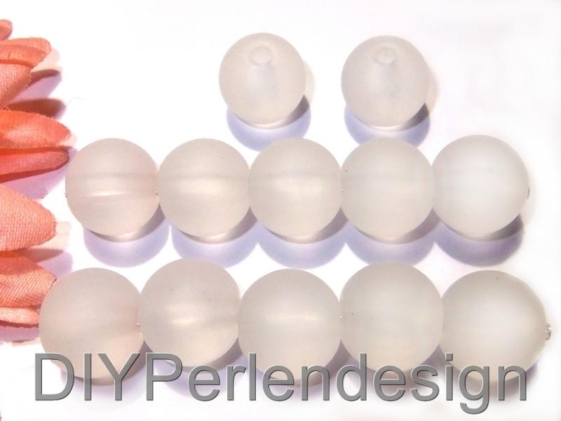 Kleinesbild - 12 weiße Perlen, 11 mm, matte Perlen