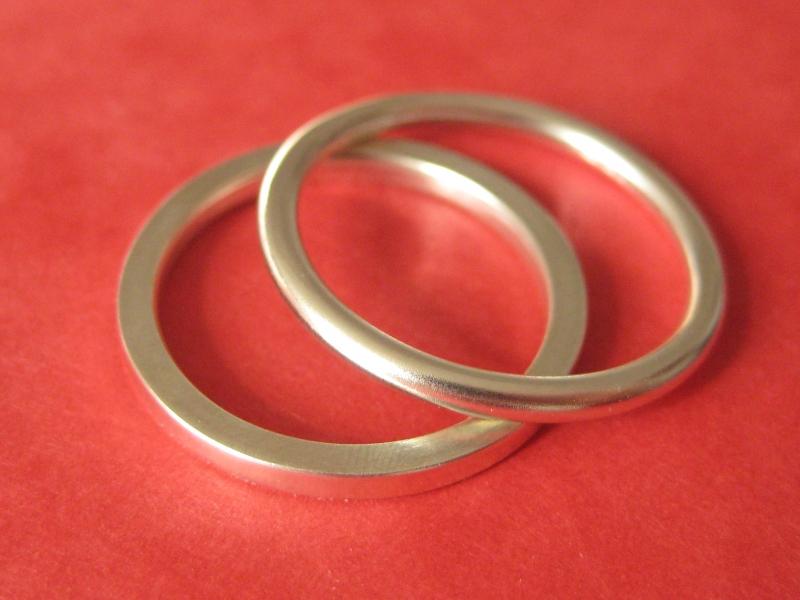 - Silberringpaar rund und eckig - Silberringpaar rund und eckig