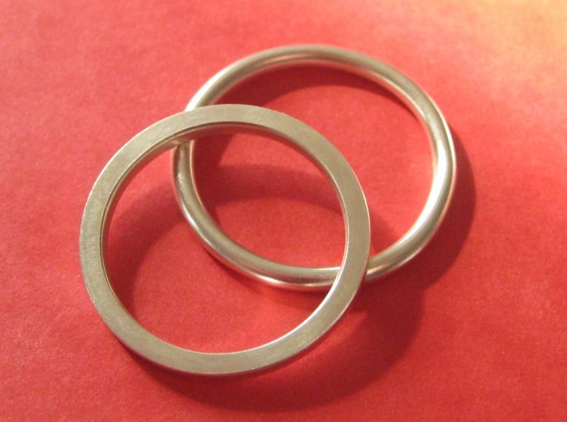 Kleinesbild - Silberringpaar rund und eckig
