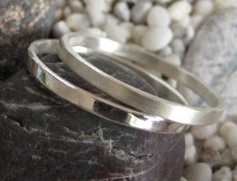 - Silberringpaar zart und schlicht - Silberringpaar zart und schlicht