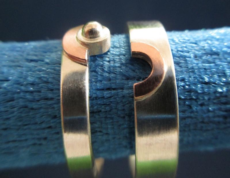 Kleinesbild - Ringpaar/Ringeset mit Kupfer und Korn Partnerringe