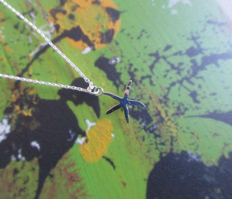 Kleinesbild - -Kleiner Seestern- Silberanhänger an passender Kette
