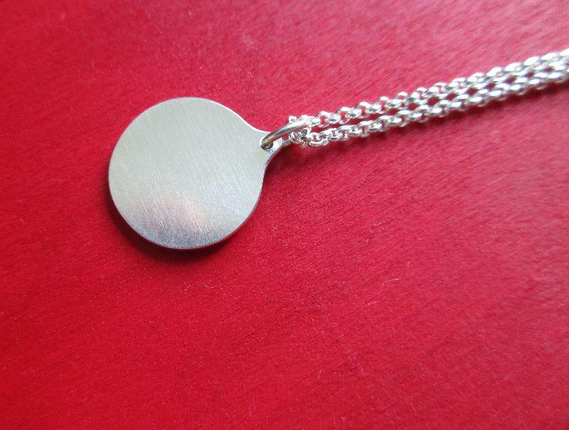 Kleinesbild - kreisförmiger Anhänger -Halbmond- Silber/Kupfer mit Silberkette
