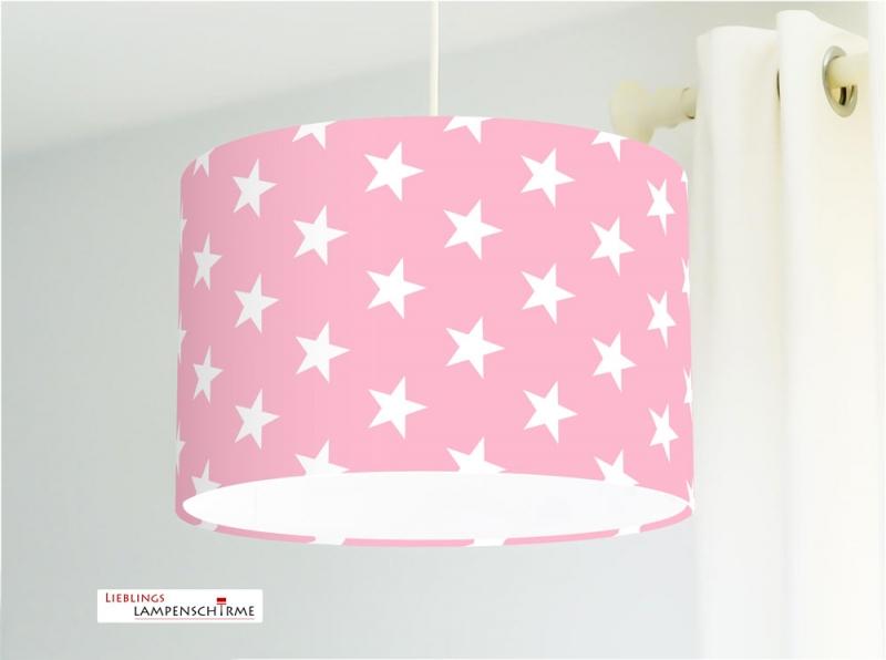 Lampe für Kinderzimmer mit weißen Sternen auf Rosa aus Baumwollstoff - alle  Farben möglich