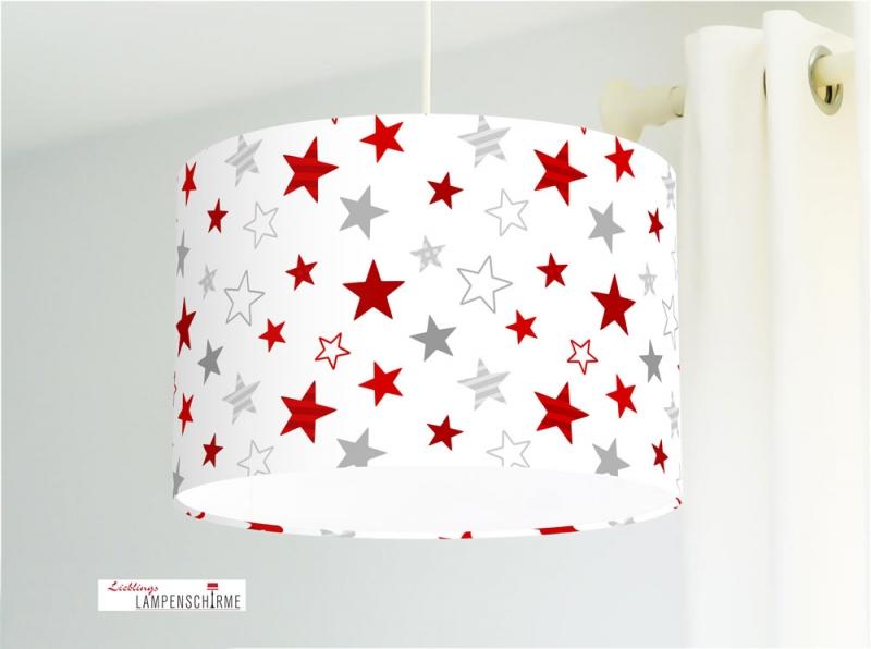 Lampe für Kinderzimmer mit Sternen in Rot auf Weiß aus Baumwollstoff - alle  Farben möglich