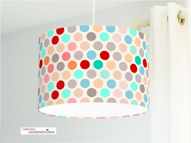 Hängelampe mit Punkten für Kinderzimmer auch als Stehlampe - alle Farben  möglich