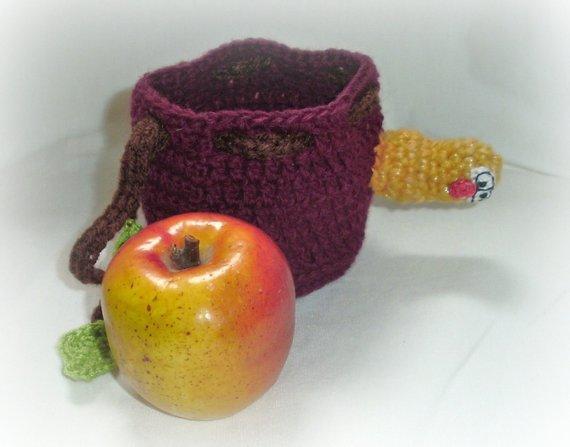 Kinder Gehäkelt Lunchbag Apfeltasche Apfel Mit Würmchen