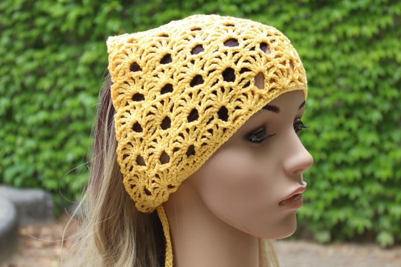 Kopfbedeckung Gehäkeltes Kopftuch Sommer Kopfbedeckung Handarbeit