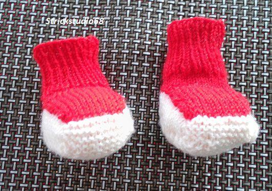 -  Babyschuhe - handgestrickt - Einheitsgröße  -  rot und weiß -  jetzt kaufen -  Babyschuhe - handgestrickt - Einheitsgröße  -  rot und weiß -  jetzt kaufen
