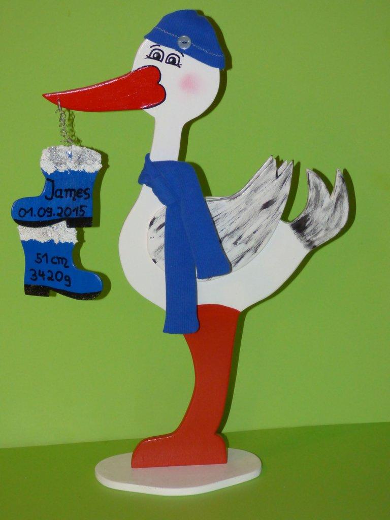 - Klapperstorch Storch Geburt 44cm individuell Nikolai - Klapperstorch Storch Geburt 44cm individuell Nikolai