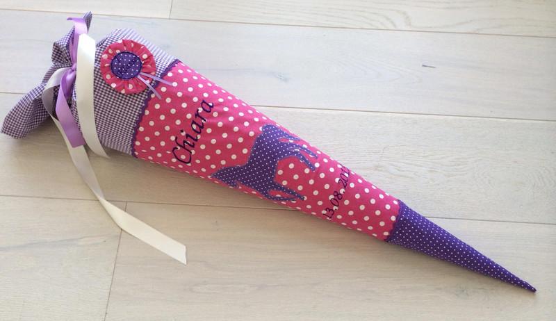 - Handgefertigte Schultüte mit Namen und Pferd  - Handgefertigte Schultüte mit Namen und Pferd