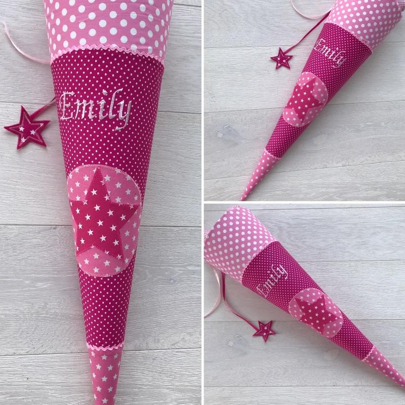 - Handgefertigte Schultüte mit Namen und Stern    - Handgefertigte Schultüte mit Namen und Stern