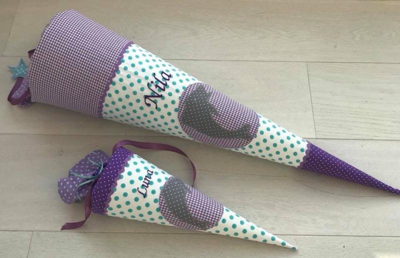 Kleinesbild - Handgefertigte Schultüte mit Namen und Schmetterling