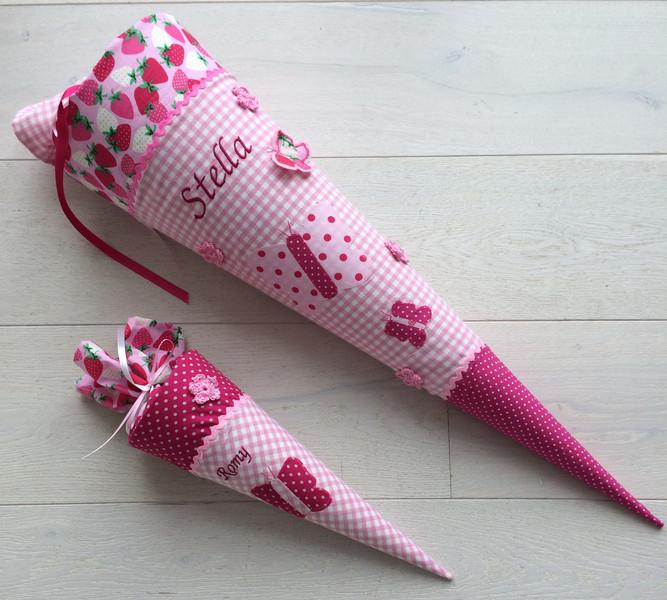 - Handgefertigte Schultüte mit Namen und Schmetterling - Handgefertigte Schultüte mit Namen und Schmetterling