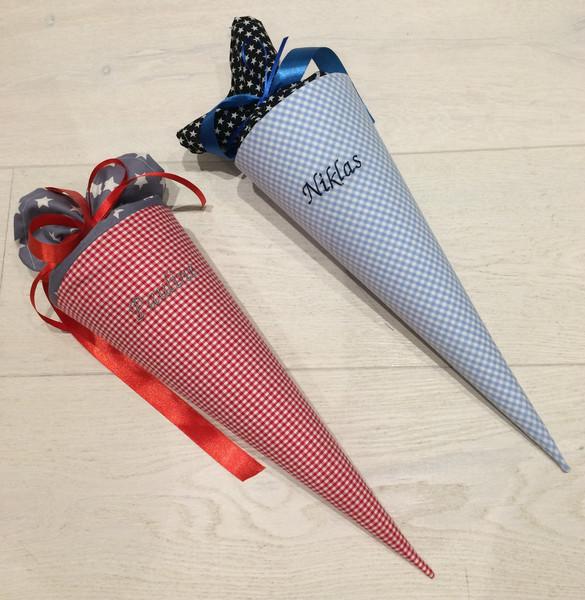 - Handgefertigte Geschwistertüte aus Stoff mit Wunschnamen  - Handgefertigte Geschwistertüte aus Stoff mit Wunschnamen