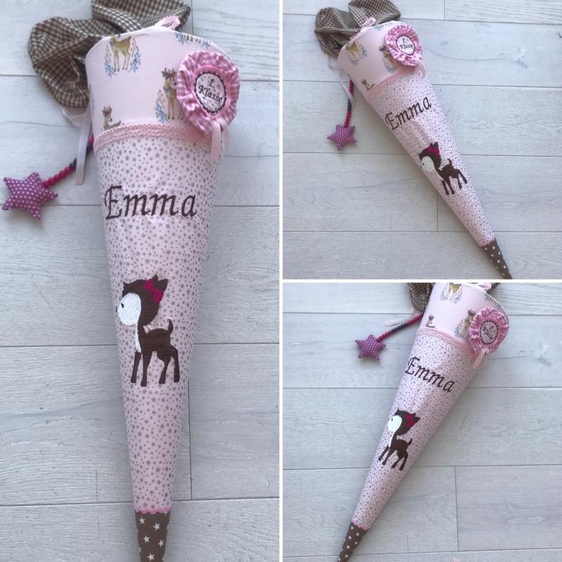 - Handgefertigte Schultüte aus Stoff mit Reh und Namen  - Handgefertigte Schultüte aus Stoff mit Reh und Namen