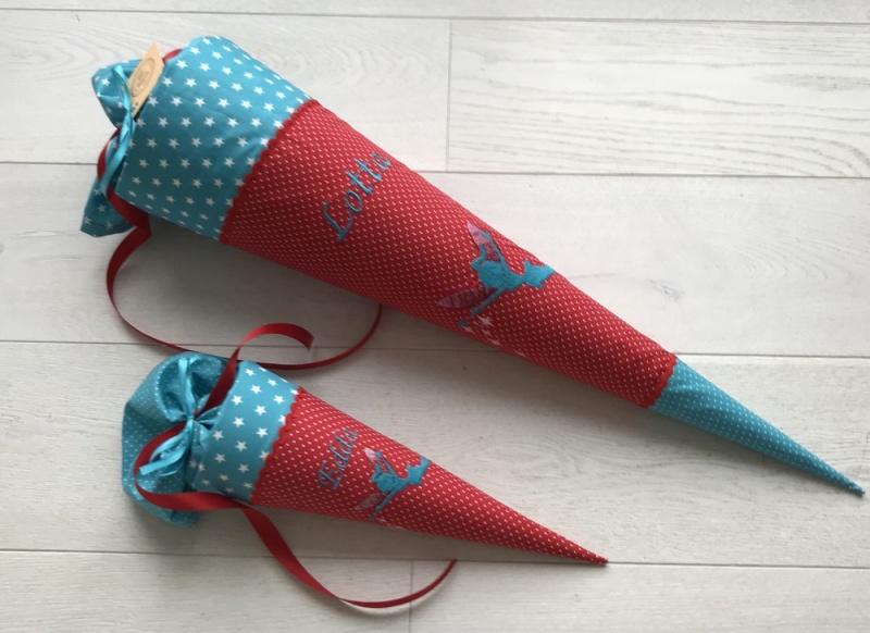 - Handgefertigte Schultüte mit Fee/Elfe und Namen - Handgefertigte Schultüte mit Fee/Elfe und Namen