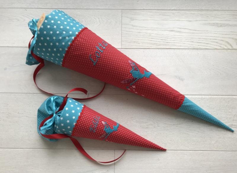 Kleinesbild - Handgefertigte Schultüte mit Fee/Elfe und Namen