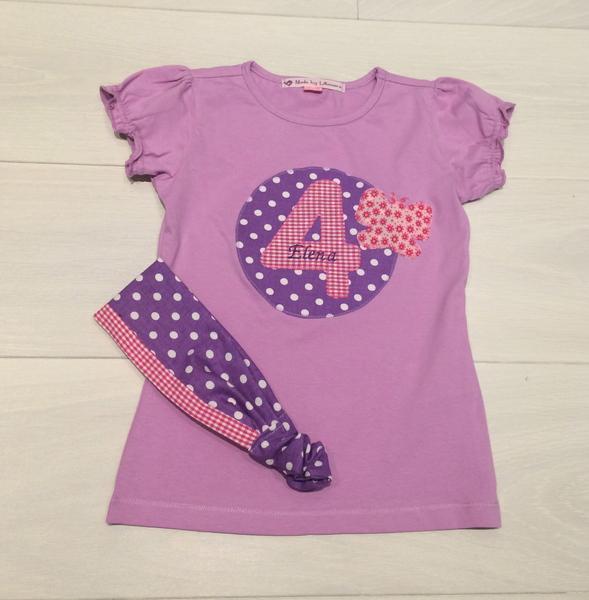 - handgefertigtes Geburtstagsshirt mit Zahl, Namen und Schmetterling - handgefertigtes Geburtstagsshirt mit Zahl, Namen und Schmetterling