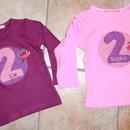 Kleinesbild - handgefertigtes Geburtstagsshirt mit Zahl, Namen und Schmetterling