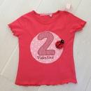 Kleinesbild - handgefertigtes Geburtstagsshirt mit Zahl, Mariekäfer und Namen
