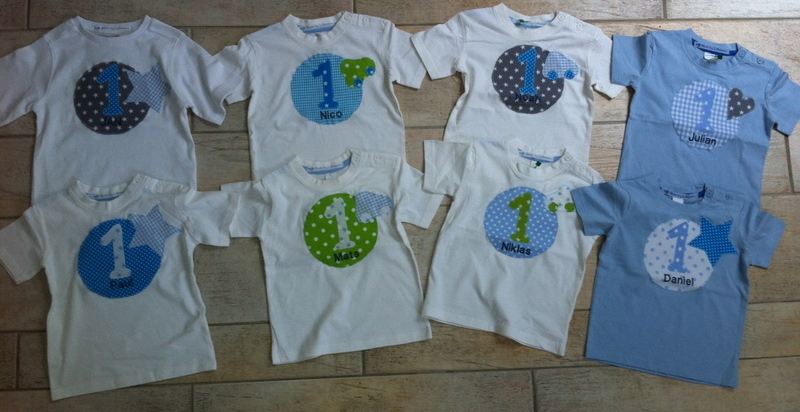 Kleinesbild - handgefertigtes Geburtstagsshirt mit Zahl, Namen und Stern
