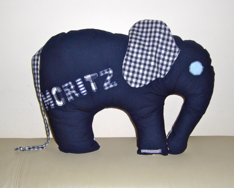 - handgefertigtes Elefanten-Kissen mit Namen zur Geburt oder Taufe - handgefertigtes Elefanten-Kissen mit Namen zur Geburt oder Taufe