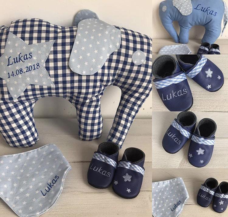 Kleinesbild - handgefertigtes Elefanten-Kissen mit Namen zur Geburt oder Taufe