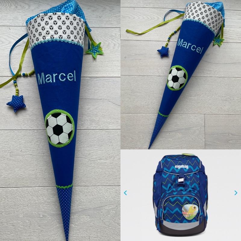 Kleinesbild - Handgefertigte Schultüte mit Fußball und Namen