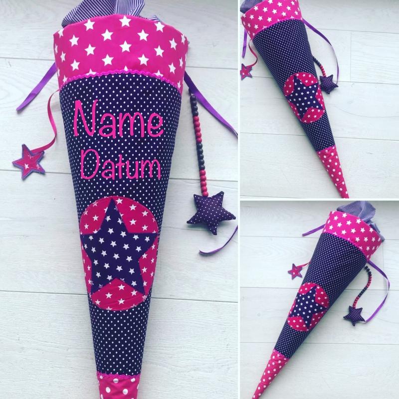 - handgefertigte Schultüte mit Stern und Namen ★  - handgefertigte Schultüte mit Stern und Namen ★