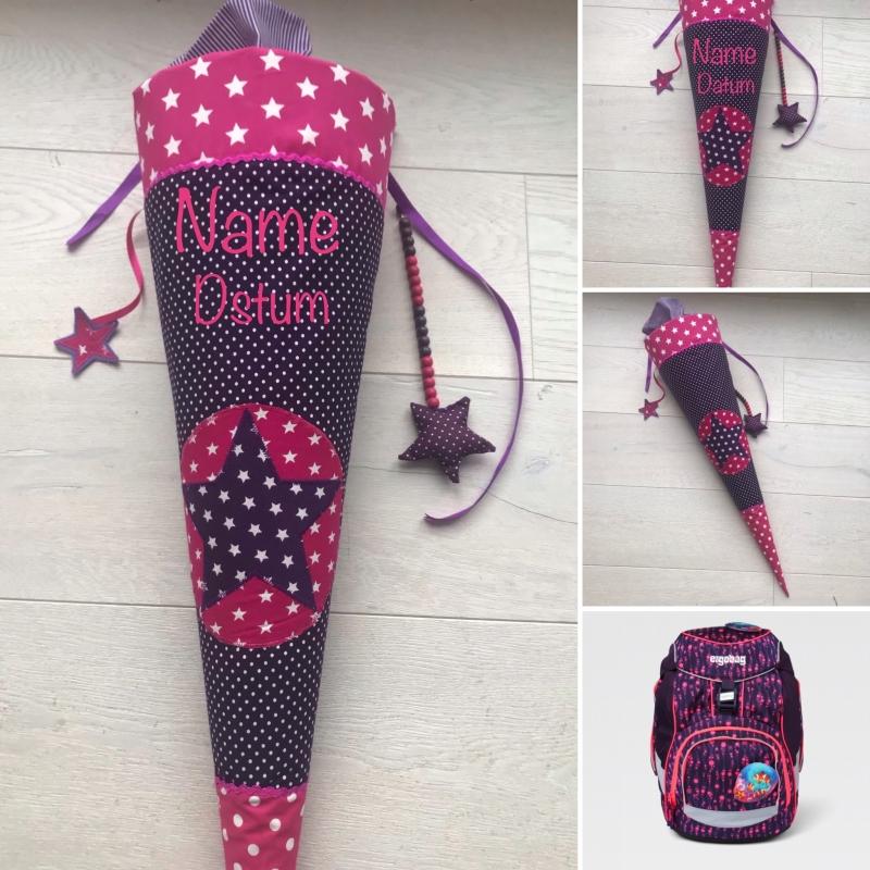 Kleinesbild - handgefertigte Schultüte mit Stern und Namen ★