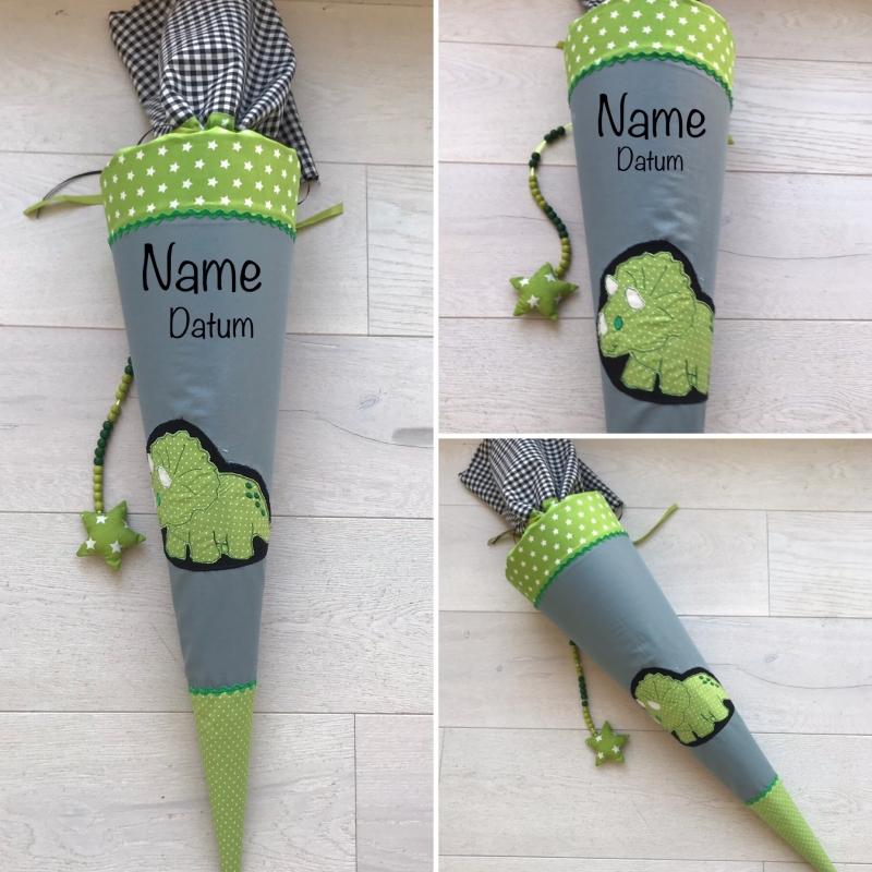 - handgefertigte Schultüte mit Dinosaurier, Dino und Namen   () - handgefertigte Schultüte mit Dinosaurier, Dino und Namen   ()