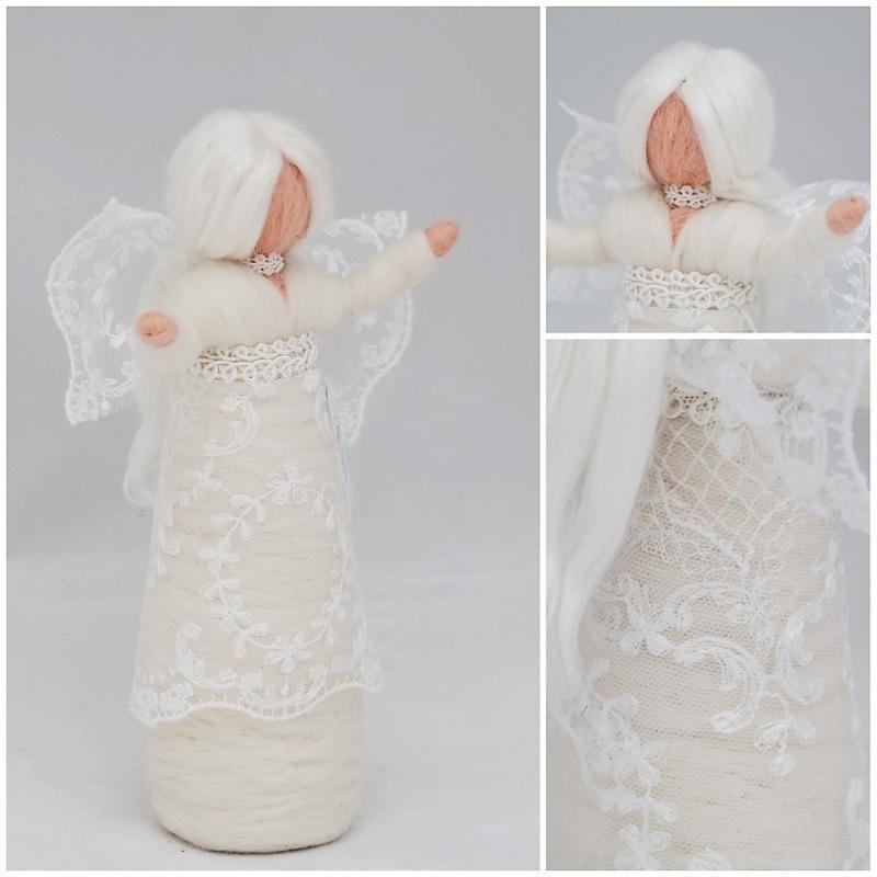 Kleinesbild - Wunderschöner Engel zur Weihnachtszeit aus feiner Wolle und Seidenhaar