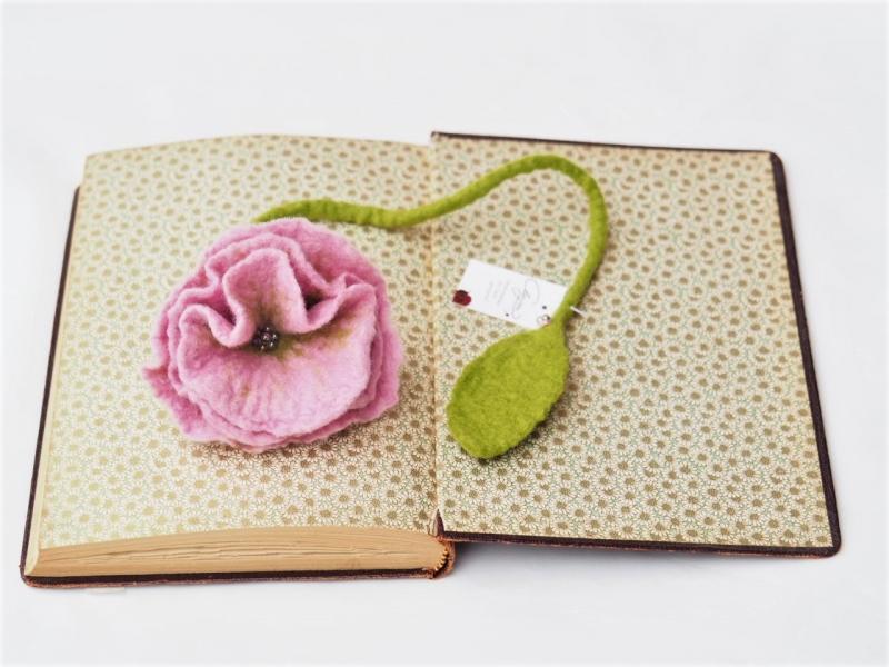 Kleinesbild - Handgefertigtes Blütenlesezeichen aus 100 % Wolle